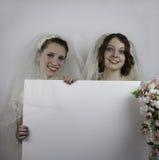 Zwei junge Bräute, die leeres Zeichen halten Stockfotografie