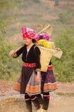 Zwei junge Frauen blühten Hmong Stockbilder