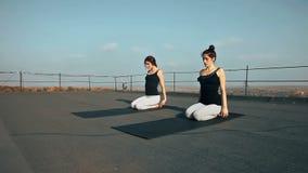 Zwei junge Frauen, die hatha Yoga auf dem Dach, draußen üben stock footage