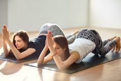 Zwei junge Frauen, die Yoga asana acht limbed Haltungsveränderung tun Stockbild