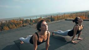 Zwei junge Frauen, die Yoga asana auf dem Dach, draußen am Morgen üben stock video