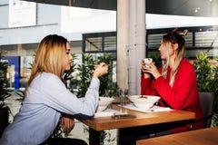 Zwei junge Frauen, die zu Mittag essen Stockbild