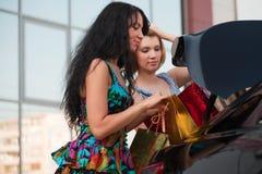 Zwei junge Frauen mit Beuteln eines Einkaufens. Lizenzfreie Stockfotografie
