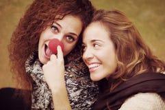 Zwei junge Freunde, die mit einer Clownnase spielen stockbilder
