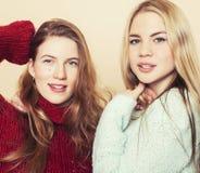 Zwei junge Freundinnen in den Winterstrickjacken, die zuhause Spaß haben lebensstil Blonde jugendlich Freunde schließen oben Lizenzfreie Stockfotografie