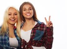 Zwei junge Freundinnen, die zusammen stehen und Spaß haben Lizenzfreie Stockbilder