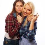 Zwei junge Freundinnen, die zusammen stehen und Spaß haben Stockfotos