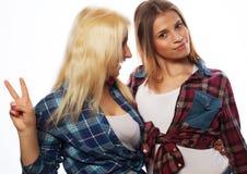 Zwei junge Freundinnen, die zusammen stehen und Spaß haben Lizenzfreie Stockfotografie