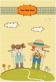 Zwei junge Gärtner, das für Blumen sich interessiert Lizenzfreie Stockbilder