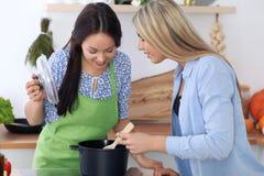 Zwei junge glückliche Frauen kochen in der Küche Freunde haben Spaß beim Preapering gesunde und geschmackvolle Mahlzeit Stockfotografie