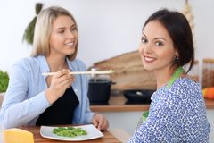 Zwei junge glückliche Frauen kochen in der Küche Freunde haben Spaß beim Preapering gesunde und geschmackvolle Mahlzeit Lizenzfreies Stockbild