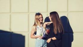 Zwei junge glückliche Freundinnen stockfotografie