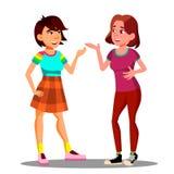 Zwei junge Mädchen besprechen aktiv sich mit Gesten-Vektor Getrennte Abbildung vektor abbildung