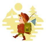 Zwei junge Männer, die mit einem Rucksack touristisch sind, geht auf eine Wanderung vor dem hintergrund der Natur Vektor im Stil  stock abbildung