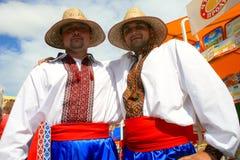 Zwei junge Männer im ukrainischen nationalen Kostüm Stockbild