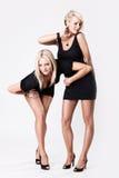 Zwei junge reizvolle Frauen im schwarzen Kleid Lizenzfreie Stockbilder