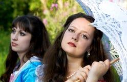 Zwei junge schöne Frauen Lizenzfreies Stockbild