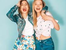 Zwei junge sch?ne Hippie-M?dchen in der modischen Kleidung im Studio stockbild