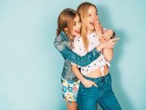 Zwei junge sch?ne Hippie-M?dchen in der modischen Kleidung im Studio stockfotos