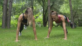 Zwei junge Schönheiten tun Plankenübung im Park, Eignungsmodelltrainieren stock video