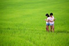 Zwei junge Schwestern, die ein Buch auf dem Paddygebiet lesen Stockfoto