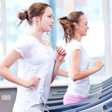 Zwei junge sportliche Frauen laufen auf Maschine Lizenzfreie Stockfotografie