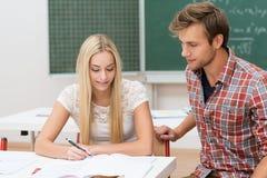 Zwei junge Studenten, die an einem Projekt arbeiten Lizenzfreies Stockfoto