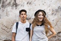 Zwei junge Touristen in der alten Stadt Stockfoto