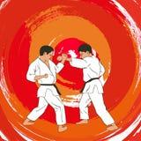 zwei Jungen demonstrieren Karate Stockbilder