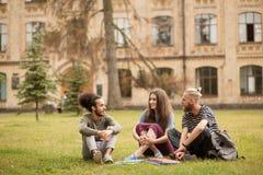 Zwei Jungen und Mädchen, die auf dem Gras im Campus sitzen Stockbild