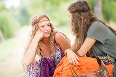 Zwei junger schöner Mädchen Hippie stockbilder