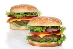 Zwei köstliche Hamburger lokalisiert lizenzfreie stockbilder