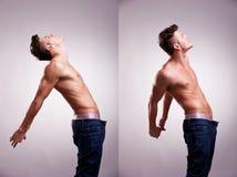 Zwei künstlerische Portraits junger toplesser Mann Lizenzfreies Stockfoto