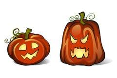 Zwei Kürbise für Halloween Lizenzfreie Stockfotos