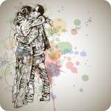 Zwei küssende Geliebte u. Blumenkalligraphie Stockbild