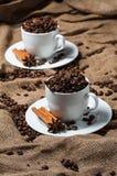 Zwei Kaffeetassen mit Kaffeebohnen, Anissamen und Zimt Stockbild