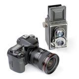 Zwei Kameras. Stockfoto