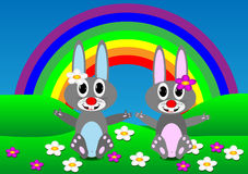 Zwei Kaninchen stock abbildung