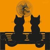 Zwei Katzen auf einer Bank Lizenzfreies Stockbild