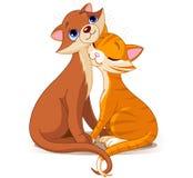 Zwei Katzen in der Liebe lizenzfreie abbildung