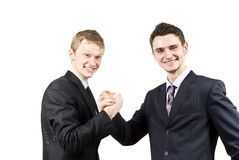 Zwei Kerle arbeiten zusammen Stockfotos