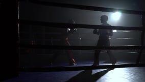 Zwei Kerle in den Sturzhelmen und in Boxhandschuhen, zum im Ring in der Dunkelheit zu kämpfen stock video footage