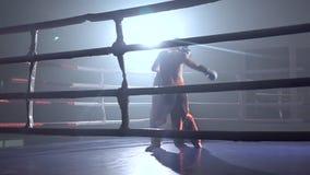 Zwei Kerle in den Sturzhelmen und in Boxhandschuhen, zum im Ring in der Dunkelheit zu kämpfen Langsame Bewegung stock footage