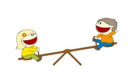 Zwei Kinder auf einem ständigen Schwanken stock abbildung