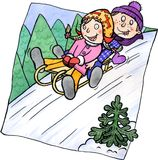 Zwei Kinder, die auf einem Hügel sledging sind lizenzfreie abbildung