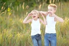 Zwei Kinder, die auf Wiese spielen Lizenzfreie Stockbilder