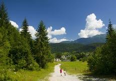 Zwei Kinder, die in Berge laufen lizenzfreie stockbilder