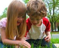 Zwei Kinder, die Natur entdecken lizenzfreies stockfoto