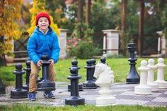 Zwei Kinder, Jungenbrüder, Schach mit enormen Zahlen in t spielend Lizenzfreie Stockfotos