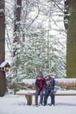 Zwei Kinder, Jungenbrüder, sitzend auf einer Bank im Park, winterti Stockbilder